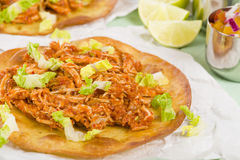 Tostadas. Mexican crispy corn tortilla topped with chicken tinga, lettuce and cotija cheese. Served with pico de gallo, guacamole and crema mexicana Royalty Free Stock Photography