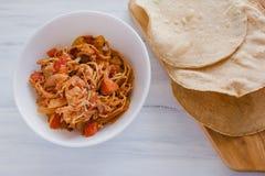 Tostadas Mexicanas with chicken, tinga de pollo mexican food in mexico. Comida mexicana royalty free stock photo