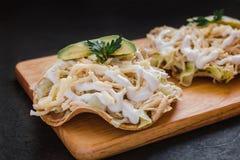 Tostadas mexicanas de pollo mexican food in mexico. City, tostada comida mexicana royalty free stock photo