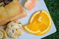 tostadas y helado Imagenes de archivo