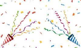 Tostador de palomitas de maíz de estallido del partido con confeti y la flámula libre illustration