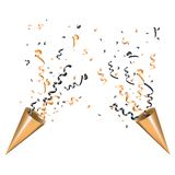 Tostador de palomitas de maíz de estallido del partido del oro dos con la serpentina Brille la cinta y el confeti, brillo, estrel fotografía de archivo libre de regalías