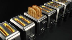 Tostapane con le fette del pane Fotografia Stock