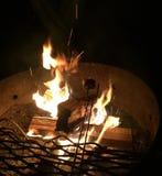 Tostatura delle caramelle gommosa e molle sopra un fuoco di accampamento Fotografie Stock Libere da Diritti
