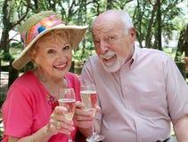 Tostatura felice degli anziani Fotografia Stock Libera da Diritti