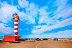 Toston fyr i El Cotillo på Fuerteventura kanariefågelöar Arkivfoto