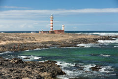 Toston latarnia morska - aktywna latarnia morska na wyspie kanaryjska Fuerteventura Zdjęcie Stock