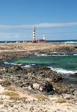 The Toston Lighthouse - active lighthouse on the Canary island of Fuerteventura. Royalty Free Stock Photography
