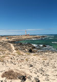 The Toston Lighthouse - active lighthouse on the Canary island of Fuerteventura. Royalty Free Stock Photo
