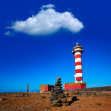 Toston lighthouse in El Cotillo at Fuerteventura Stock Photos