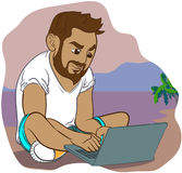 Totó do computador do estilo dos desenhos animados Imagens de Stock