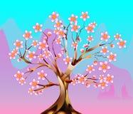 Tot bloei komende fabelachtige boom stock illustratie
