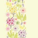 Tot bloei komende van het bomen verticale naadloze patroon grens als achtergrond Stock Afbeelding