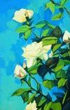 Tot bloei komende witte rozen, die door olie op een canvas schilderen Royalty-vrije Stock Foto