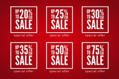 20 tot 75 die percenten van verkoopkortingen op rode achtergrond worden geplaatst Speciale aanbieding royalty-vrije illustratie