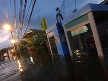 TOT public telephones are underwater in Pathum Thani, Thailand, in October 2011.  Stock Images