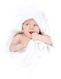 Tot under towel Stock Photos