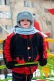 Tot on walk. Portrait of the boy on baby platform Stock Photography