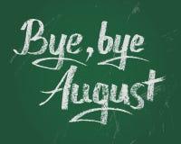 Tot ziens Augustus, vectorkrijttekst op groene raad Stock Foto