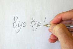 Tot ziens! Schrijvende Hand royalty-vrije stock afbeelding