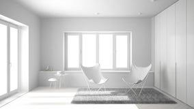 Totaal wit project van minimale woonkamer met leunstoeltapijt, parketvloer en panoramisch venster, Skandinavische architectuur, m stock foto