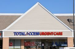 Total Access Urgent Care. Offers patients the convenience of short wait times and the ability to be seen by a provider without an appointment royalty free stock photo