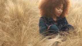 Black mixed race woman with big afro curly hair in lawn field with high dry autumn hay grass and sunset light. Total denim look woman sits on autumn field with stock video