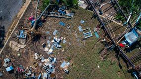 Total Destruction Hurricane Damage Climate Change Floods and Stronger storms straight down drone view Stock Image