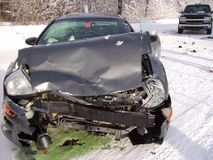Car crash in winter. Winter car crash on slippery country road Royalty Free Stock Image