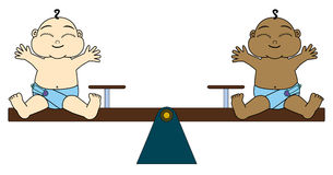 Total equality. Two cute cartoon babies equally balanced on a seesaw Royalty Free Stock Photo