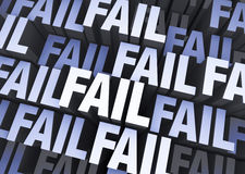 Total Fail. A blue gray background filled with the word FAIL repeated many times a different depths royalty free illustration