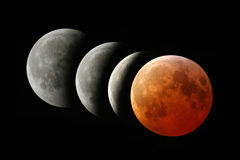 Total lunar eclipse 2007. Phases of total lunar eclipse occurred on March 4th 2007 Royalty Free Stock Image