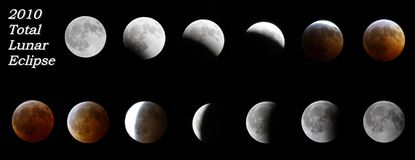 Total Lunar Eclipse. December, 2010 total lunar eclipse stages as seen from Anchor Point, Alaska royalty free stock photo