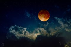 Total lunar eclipse, mysterious natural phenomenon royalty free stock photo