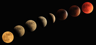 Total lunar eclipse progression to blood moon Royalty Free Stock Image