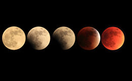 Total lunar eclipse progression to blood moon Stock Photos