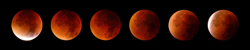 Total lunar eclipse in 6 stages Royalty Free Stock Image