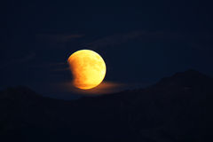 Total Lunar Eclipse of a Supermoon on September 27, 2015 in Colo. Rado, USA. It is the latter of two total lunar eclipses in 2015, and the final in a tetrad Royalty Free Stock Image