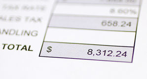 Total money due. Bottom of bill or invoice shows total amount of money due royalty free stock photos