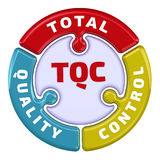Total quality control. The check mark in the form of a puzzle Stock Photography