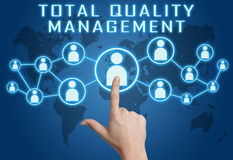 Total Quality Management. Concept with hand pressing social icons on blue world map background Stock Photo