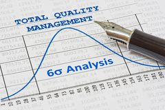 Total Quality Management. Efficiency of Total Quality Management is shown by a six sigma curve stock images