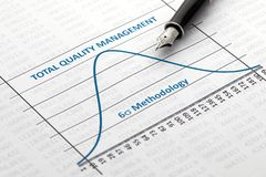 Total Quality Management. Efficiency of Total Quality Management is shown by a six sigma curve royalty free stock photography