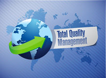 Total quality management globe sign illustration Royalty Free Stock Photo