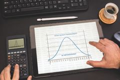 Total Quality Management and Six Sigma Curve On Tablet. Total Quality Management and Six Sigma Curve On Digital Tablet stock image