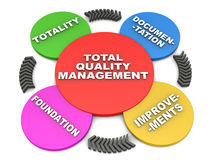 Total quality management. Tqm or total quality management concept, the cycle of tqm in 3d over white background Stock Image