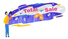 Total Sale Banner. Man Character Shout in Megaphon royalty free illustration
