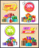 Total Sale Best Prices Discount Final Offer Labels. Total sale best prices discounts, final cost premium offer labels of geometric shapes with percent signs and Stock Images
