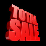 Total Sale 3D letters. Render isolated on black background Stock Photo
