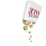 Total sale with euro coins vector Stock Photos